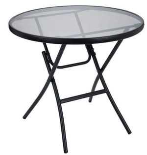 Glass Topped Outdoor Table Black Metal Folding Furniture Deck Portable Garden Patio Bistro Restaurant for Sale in Chicago, IL