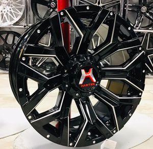 """NEW! 20"""" Hartes Metal Offroad Gloss Black Milled Silver Rims Wheels 5x150 Tundra 5x5.5 Dodge Ram Concave XD Fuel Moto for Sale in Tampa, FL"""