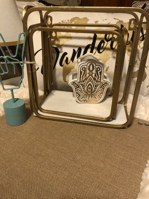 Gold and white nesting metal shelves for Sale in Tukwila, WA