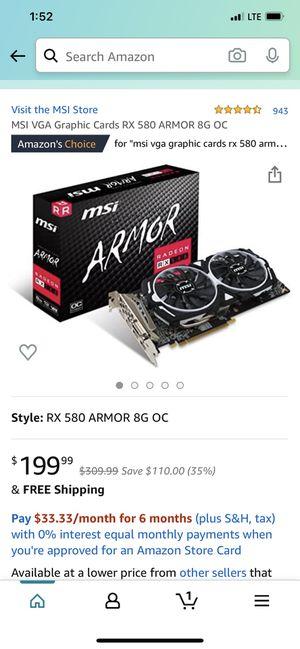 MSI VGA Graphic Cards RX 580 ARMOR 8G OC for Sale in Carson, CA