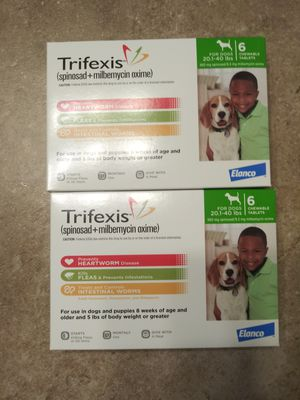 2 boxes (1 year) of trifexis 22-44lbs heartworm and flea prevention for dogs. for Sale in Mansfield, TX