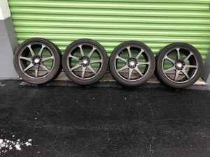 17 inch rims and tires 4 lug universal for Sale in Orlando, FL