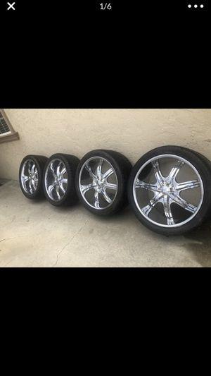 24 inch U2 rims wheels 5 lug. 5x4.75 for Sale in Lomita, CA