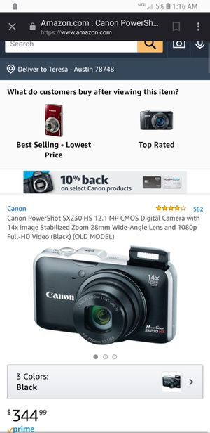 Canon digital camera for Sale in Austin, TX
