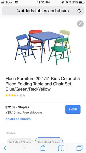 Kids color table with 5 chairs for Sale in West Valley City, UT