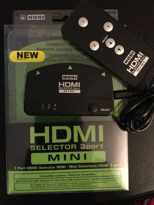 HORI HDMI Selector 3-Port MINI with Remote and 3D 1080p Support for Sale in Columbus, OH