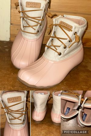 Sperry rose/oat duck boots for Sale in Leland, MS