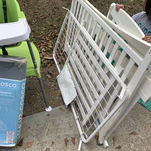 Crib, Two High Chairs, Stroller, Breast Pump, Diaper Disposer, Swing, Baby Carrier And Play Pen for Sale in Lilburn, GA