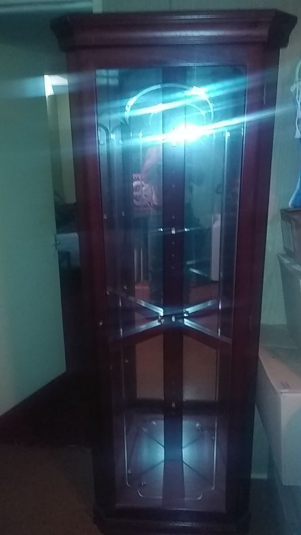 Lighted Curio Cabinet with Glass Shelves