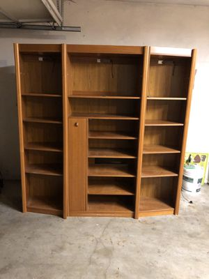 Solid wood PENDING wall unit (teak). FREE for Sale in Tacoma, WA