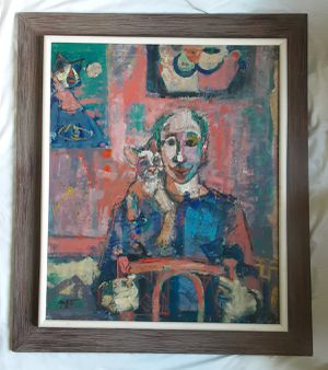 A vintage Large Abstract Expressionist Clown & Cat Portrait Oil Painting by Artist Grittith for Sale in Tacoma, WA