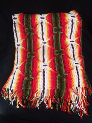 Hand Crocheted Multi Color Stripe & 3D Zig-Zag Stitch Afghan 86x50 Throw Blanket for Sale in Garland, TX