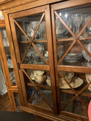 Oakwood Color China Cabinet. Dishes not included. for Sale in Detroit, MI