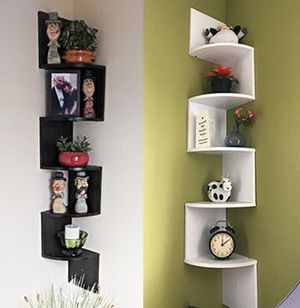 "$20 each NEW (Black or White) Corner 5-Tiers Wall Mount Zig Zag Wood Shelf Home Furniture 8""x8""x48"" for Sale in Pico Rivera, CA"