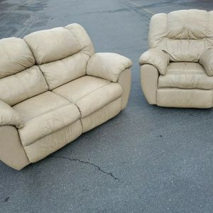 Matching Couch Set Of 3 : Couch, Loveseat, Chair With DELIVERY, Real Leather for Sale in Mountlake Terrace, WA