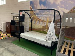 Twin soccer goal bed frame - new in box (mattress not included) for Sale in Dallas, TX