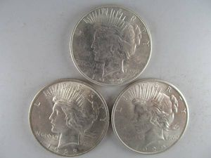 Set 3 Different Uncirculated Peace Silver Dollars--STELLAR MS COINS! for Sale in Bolingbrook, IL