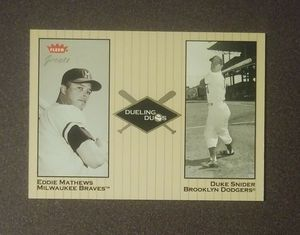 2002 Fleer Greats Dueling Duos Duke Snider Dodgers Eddie Mathews Braves #20 Baseball Card Vintage Collectible Sports MLB Special for Sale in Salem, OH