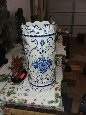 """antique 19"""" heavy hand painted vase,signed for Sale in Costa Mesa, CA"""