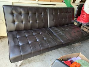 Brown leather futon for Sale in Phoenix, AZ