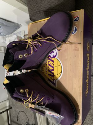 Lakers Timberlands Boots kids sz 13.5 & 2.5 for Sale in Williamsport, PA