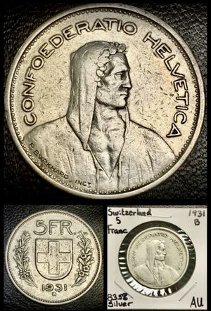 Depression Era Swiss Coin • LARGE • HIGH PURITY REAL SILVER for Sale in Yucca Valley, CA