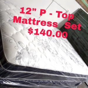 """12"""" Thick Pillow Top Mattress AND Box Spring Set with warranty TWIN FULL QUEEN CAL KING OR KING CALIFORNIA KING CALI KING COLCHON cama bed for Sale in City of Industry, CA"""