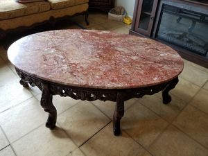 Carved Cherrywood and Marble Livingroom Table Set for Sale in Gulfport, FL