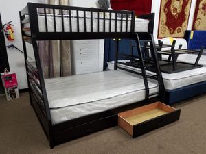 No credit needed twin full wood bunk bed with storage and mattresses for Sale in Beltsville, MD
