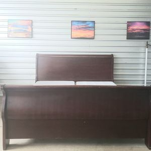 King Sleigh Bed Frame In Great Structural Condition, Some Imperfections for Sale in Albuquerque, NM