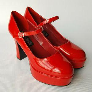 Funtasma Mary Jane 50 Red Platform Pumps Chunky Heel Size 8 for Sale in Las Vegas, NV