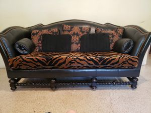 Ornate Leather ~ Wood Couch Taylor B. for Sale in SUNNY ISL BCH, FL
