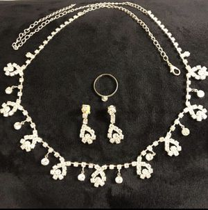 😍 ON SALE 😍 Cute Silver plated Necklace/ Earrings/ Ring Set- Asscher for Sale in Dallas, TX