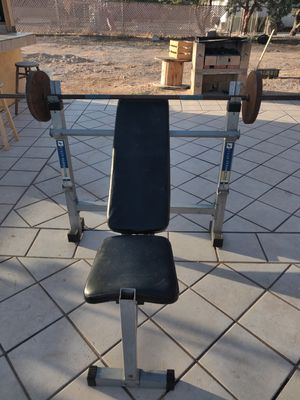 25 lb weights plates,bench and bar for Sale in Hesperia, CA