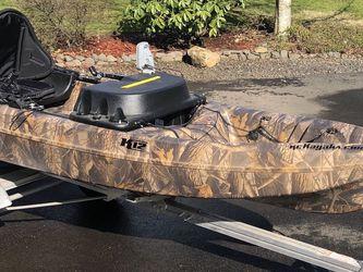 KC K12 Fishing Kayak Trailer And Remoter Trolling Motor for Sale in Brush Prairie,  WA
