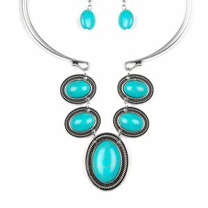 Turquoise and Silver Metal necklace set for Sale in Riverdale, MD