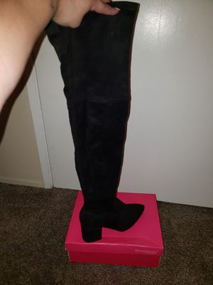 Black thigh high low heel boots for Sale in Chula Vista, CA