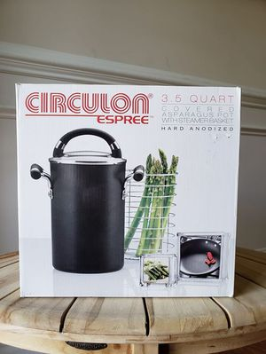 Circulon Hard-Anodized Nonstick 3.5-Quart Covered Asparagus Pot with Basket Steamer for Sale in Apex, NC