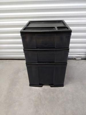 Heavy duty plastic 3 drawer unit w/ top organizer for Sale in Newberg, OR
