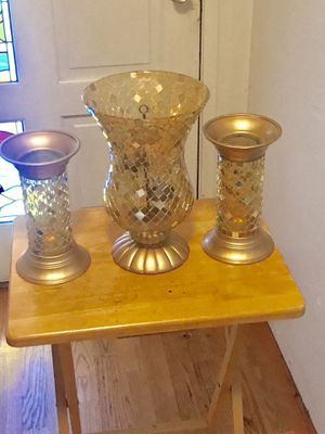 Partylite Global Fusion Mosaic Hurricane candle Holder and Pillars for Sale in Keizer, OR