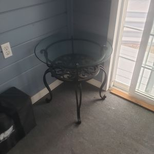 Glass side table, iron frame for Sale in Wolcott, CT