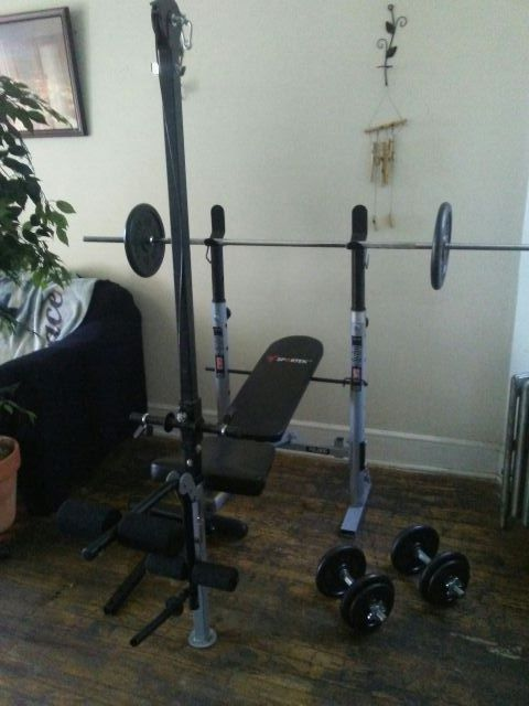 Sportek Kwb 350 Weight Bench With Lat Attachment And Curl Bar Attachment Long Pole 2 25lb Weights And 2 30lb Dumbells For Sale In Philadelphia Pa Offerup Find workout benches to help you enhance your strenght and agility. sportek kwb 350 weight bench with lat