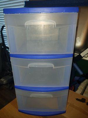 3 drawer blue plastic storage tote for Sale in St. Petersburg, FL