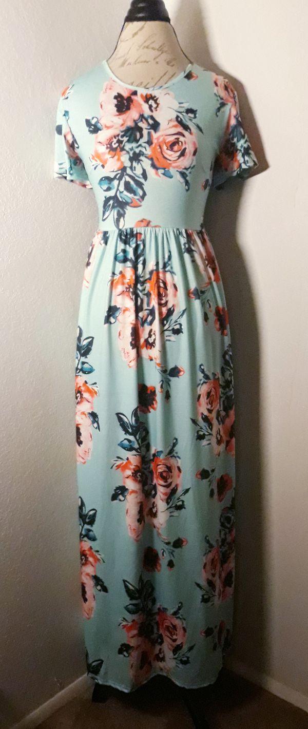 Teal & Floral Short Sleeve Maxi Dress Sz XL