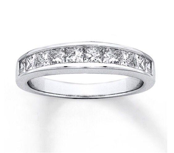 14ct White Gold Princess Cut Engagement & Round Wedding Band Bridal Set