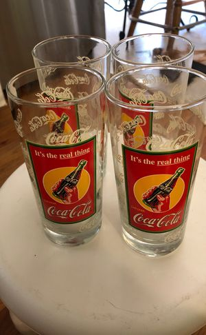 Set of 4 Coca Cola collectible glasses with aluminum tin for Sale in Stone Mountain, GA