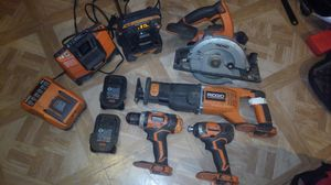 Ridgid drill impact sawzall skillsaw raido 3 batterys 2 chargers for Sale in Bloomingburg, NY