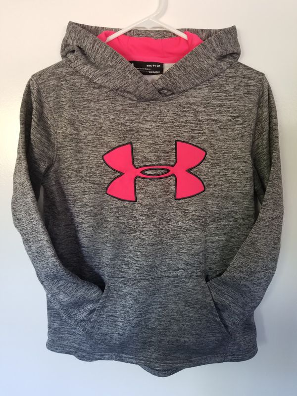 Under Armour UA Storm Fleece Cold Gear Big Logo Hoodie Womens Small Gray Pink