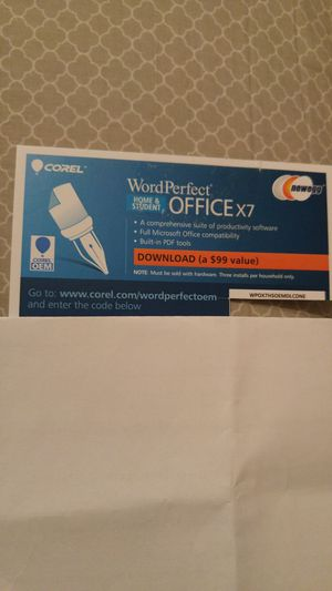 Brand new Corel WordPerfect Office X7 Home & Student - download code for Sale in Burlington, MA