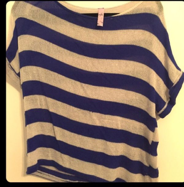 Blue and white striped knit top